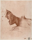 Study of male head for the Battle of Anghiari,drawing by Le