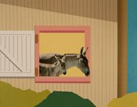 窓から頭を出すロバの親子 合成 00386000144| 写真素材・ストックフォト・画像・イラスト素材|アマナイメージズ