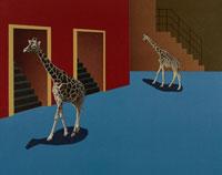 階段の前を歩く2匹のキリン 合成 00386000164| 写真素材・ストックフォト・画像・イラスト素材|アマナイメージズ