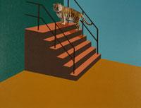 階段のトラ 合成 00386000202| 写真素材・ストックフォト・画像・イラスト素材|アマナイメージズ