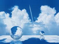 青空と雲が映った2個の球体(青) CG 00684010091| 写真素材・ストックフォト・画像・イラスト素材|アマナイメージズ