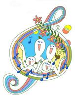 若いファミリーがト音記号の窓でみんなで歌を歌う 00705000209| 写真素材・ストックフォト・画像・イラスト素材|アマナイメージズ