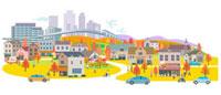 街と家の秋景色 00811010144| 写真素材・ストックフォト・画像・イラスト素材|アマナイメージズ