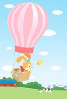 気球に乗ったうさぎ 00832000027| 写真素材・ストックフォト・画像・イラスト素材|アマナイメージズ