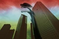 恐竜とビル街 合成 01222000016| 写真素材・ストックフォト・画像・イラスト素材|アマナイメージズ