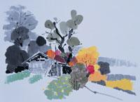 小屋のある風景 イラスト 01432000004| 写真素材・ストックフォト・画像・イラスト素材|アマナイメージズ