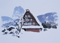 雪の白川郷 イラスト 01432000012| 写真素材・ストックフォト・画像・イラスト素材|アマナイメージズ
