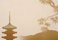 五重塔と紅葉の京都イメージ 02022348201| 写真素材・ストックフォト・画像・イラスト素材|アマナイメージズ