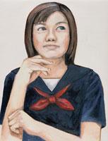 ひじをつく日本人女学生 イラスト 02209000015| 写真素材・ストックフォト・画像・イラスト素材|アマナイメージズ