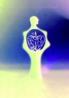 人のシルエットとワイヤーのリンゴ 02221000040| 写真素材・ストックフォト・画像・イラスト素材|アマナイメージズ