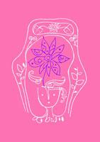 あたたかい日の人と花 イラスト 02221000051| 写真素材・ストックフォト・画像・イラスト素材|アマナイメージズ