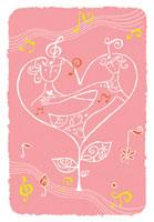 ハートと音楽と女性のイラスト 02221000082| 写真素材・ストックフォト・画像・イラスト素材|アマナイメージズ