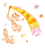 筆で花や星を描くこどもとお母さん 02221000091| 写真素材・ストックフォト・画像・イラスト素材|アマナイメージズ