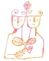 双葉を抱える二人の人間 02221000126| 写真素材・ストックフォト・画像・イラスト素材|アマナイメージズ