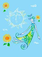 太陽とひまわりと女性 02221000160| 写真素材・ストックフォト・画像・イラスト素材|アマナイメージズ