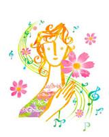 コスモスと女性のイメージ 02221000161| 写真素材・ストックフォト・画像・イラスト素材|アマナイメージズ