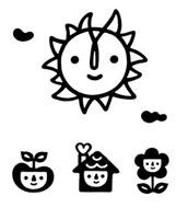 太陽とたね、家、花のキャラクター 02221000173| 写真素材・ストックフォト・画像・イラスト素材|アマナイメージズ