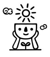 太陽と二葉とキャラクター 02221000179| 写真素材・ストックフォト・画像・イラスト素材|アマナイメージズ