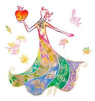 リンゴを持つドレスを着た女性 02221000186| 写真素材・ストックフォト・画像・イラスト素材|アマナイメージズ