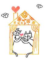 家の中でハートを渡すねこ 02221000199| 写真素材・ストックフォト・画像・イラスト素材|アマナイメージズ