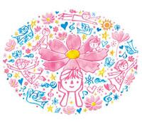 子供たちと花と鳥 02221000213| 写真素材・ストックフォト・画像・イラスト素材|アマナイメージズ