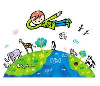 地球と動物と子供 02221000214| 写真素材・ストックフォト・画像・イラスト素材|アマナイメージズ