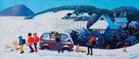 雪景色の田舎で雪遊びする小学生・冬 02237000892| 写真素材・ストックフォト・画像・イラスト素材|アマナイメージズ