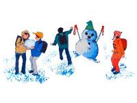 雪だるまをつくる小学生・冬 02237000967| 写真素材・ストックフォト・画像・イラスト素材|アマナイメージズ
