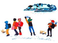 里山で雪遊びする小学生・冬 02237000968| 写真素材・ストックフォト・画像・イラスト素材|アマナイメージズ