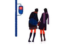 信号を待つ女学生・冬 02237001060  写真素材・ストックフォト・画像・イラスト素材 アマナイメージズ