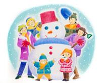 雪ウサギや作った雪だるまを囲む3世代家族 02237003398| 写真素材・ストックフォト・画像・イラスト素材|アマナイメージズ