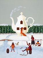 冬の川で釣りをする3人の家族 02237003540| 写真素材・ストックフォト・画像・イラスト素材|アマナイメージズ