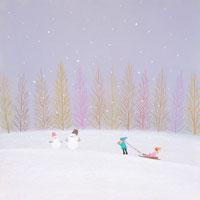 そりで遊ぶ子供雪だるまが2つ 02237004176| 写真素材・ストックフォト・画像・イラスト素材|アマナイメージズ