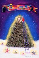 大きなツリーに梯子で登り星を飾るサンタ 02237006596| 写真素材・ストックフォト・画像・イラスト素材|アマナイメージズ
