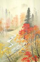 四季の山水画 紅葉と秋雨 9/10月 02237011809| 写真素材・ストックフォト・画像・イラスト素材|アマナイメージズ