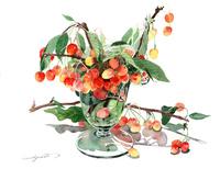 さくらんぼとガラス花瓶 02237013174| 写真素材・ストックフォト・画像・イラスト素材|アマナイメージズ