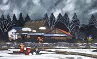 雪の積もった田んぼにて遊ぶ子どもたち 02237013259| 写真素材・ストックフォト・画像・イラスト素材|アマナイメージズ