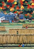 干し藁でかくれんぼする子供 02237013364| 写真素材・ストックフォト・画像・イラスト素材|アマナイメージズ