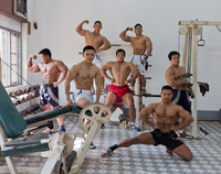 MYANMAR. YANGON. Bodybuilders training at the Myanmar Body Building Federation. All the equipment comes fr
