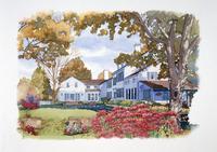 花壇のある庭の風景 秋 水彩イラスト 02290000030| 写真素材・ストックフォト・画像・イラスト素材|アマナイメージズ