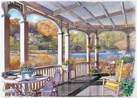 湖が前にあるポーチの風景 秋 水彩イラスト 02290000031| 写真素材・ストックフォト・画像・イラスト素材|アマナイメージズ