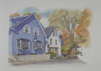 紅葉した木がある家 水彩イラスト 02290000032| 写真素材・ストックフォト・画像・イラスト素材|アマナイメージズ