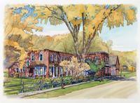 紅葉した木がある家 水彩イラスト 02290000033| 写真素材・ストックフォト・画像・イラスト素材|アマナイメージズ