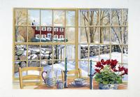 窓からみる雪景色 水彩イラスト 02290000036| 写真素材・ストックフォト・画像・イラスト素材|アマナイメージズ