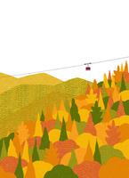 山間の紅葉とロープウェイ 02403000073| 写真素材・ストックフォト・画像・イラスト素材|アマナイメージズ