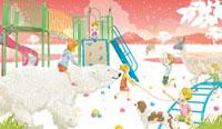 公園風景 シロクマに乗る女の子 02425000015| 写真素材・ストックフォト・画像・イラスト素材|アマナイメージズ