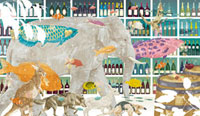 ワインバーを横切る象・魚・動物達 02425000017| 写真素材・ストックフォト・画像・イラスト素材|アマナイメージズ