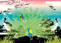 羽を広げた雄くじゃくと鶴 02425000021| 写真素材・ストックフォト・画像・イラスト素材|アマナイメージズ