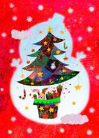 雪だるまとクリスマスツリー 02432000121| 写真素材・ストックフォト・画像・イラスト素材|アマナイメージズ