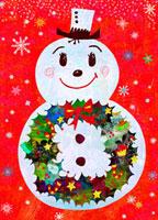 リースの雪ダルマ 02432000163| 写真素材・ストックフォト・画像・イラスト素材|アマナイメージズ